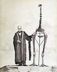 Paleontologist Richard Owen posing with a moa skeleton, circa 1879.