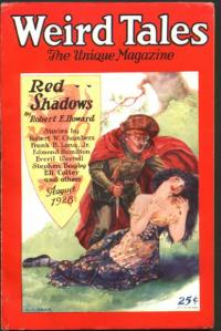 First appearance of Robert E. Howard's Solomon Kane, in Weird Tales, August 1928.