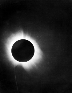 Image of the Sun taken during the 1919 solar eclipse by Eddington, via Wikipedia.