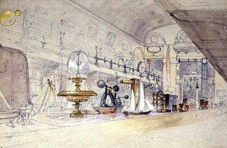 The interior of the Royal Polytechnic Institution in 1847, sketched by G.F. Sargeant. Via Wikipedia.